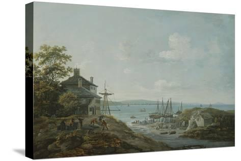 Loading Slate at Bangor Ferry-John Laporte-Stretched Canvas Print