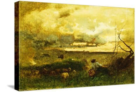 Golden Sunset-George Snr^ Inness-Stretched Canvas Print
