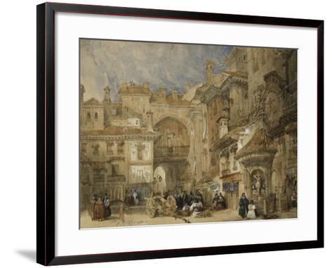 The Gate of the Viva Rambla, Granada, 1834-David Roberts-Framed Art Print