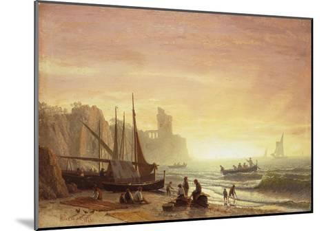 The Fishing Fleet, 1862-Albert Bierstadt-Mounted Giclee Print