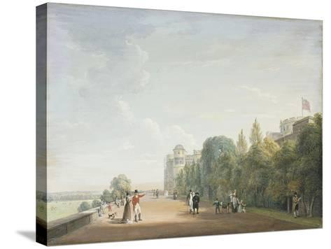 Windsor Castle: the North Terrace Looking East, with Elegant Figures, 1803-Paul Sandby-Stretched Canvas Print