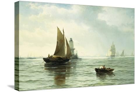 Around the Lighthouse-Edward Moran-Stretched Canvas Print