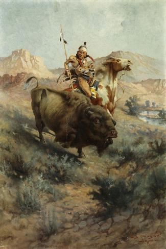 Indian and Buffalo, 1891-Edgar Samuel Paxson-Stretched Canvas Print