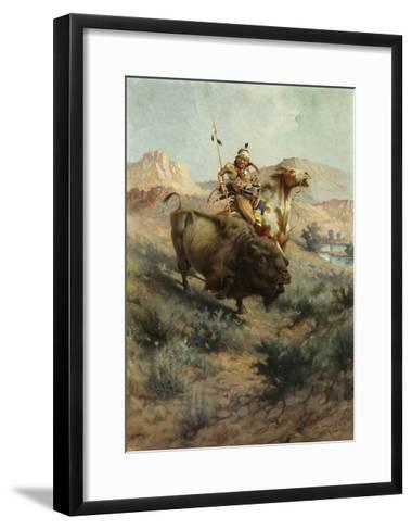 Indian and Buffalo, 1891-Edgar Samuel Paxson-Framed Art Print