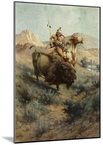 Indian and Buffalo, 1891-Edgar Samuel Paxson-Mounted Giclee Print
