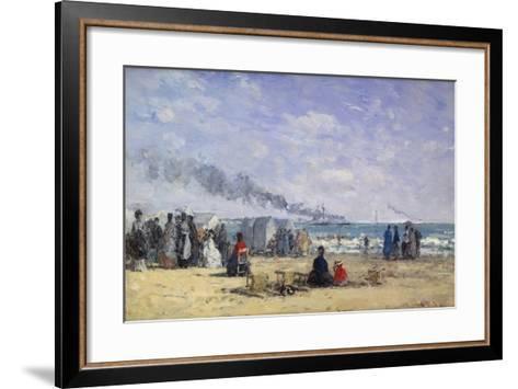 The Beach at Trouville at Bathing Time; La Plage De Trouville a L'Heure Du Bain, 1868-Eug?ne Boudin-Framed Art Print