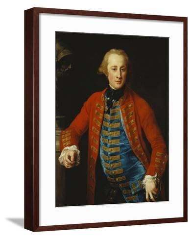 Portrait of a Cavalry Officer in Walking-Out Dress, Three-Quarter Length, Leaning on a Pedestal?-Pompeo Batoni-Framed Art Print