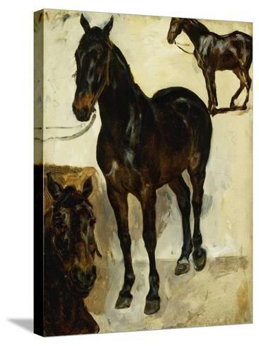 Three Studies of Horses; Trois Etudes De Chevaux, C.1823-Eugene Delacroix-Stretched Canvas Print