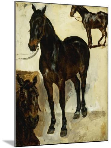 Three Studies of Horses; Trois Etudes De Chevaux, C.1823-Eugene Delacroix-Mounted Giclee Print