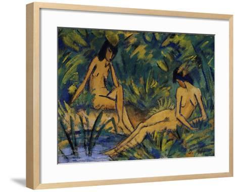 Seated Women by Water; Sitzende Madchen Am Wasser, C. 1914-16-Otto Muller or Mueller-Framed Art Print