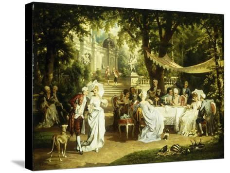 The Garden Party-Karl or Carl the Younger Schweninger-Stretched Canvas Print