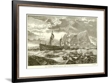 """The """"Victory"""" Towed into Gibraltar after the Battle of Trafalgar--Framed Art Print"""