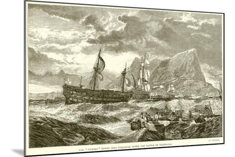 """The """"Victory"""" Towed into Gibraltar after the Battle of Trafalgar--Mounted Giclee Print"""
