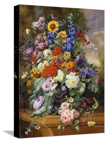 Still Life with Roses, Delphiniums, Poppies, and Marigolds on a Ledge-Albert Williams-Stretched Canvas Print