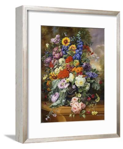 Still Life with Roses, Delphiniums, Poppies, and Marigolds on a Ledge-Albert Williams-Framed Art Print
