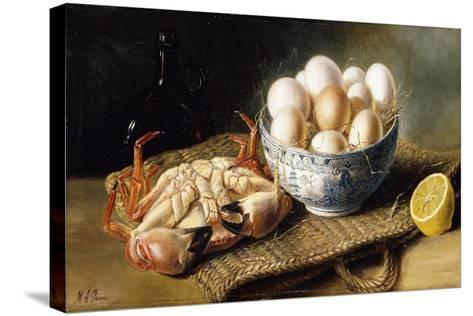 A Crab and a Bowl of Eggs on a Basket, with a Bottle and Half a Lemon-Mary E. Powis-Stretched Canvas Print