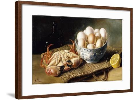 A Crab and a Bowl of Eggs on a Basket, with a Bottle and Half a Lemon-Mary E. Powis-Framed Art Print
