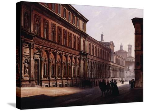 The Ca' Grande in the Via Festa Del Perdona, with S, 1842-Luigi Premazzi-Stretched Canvas Print