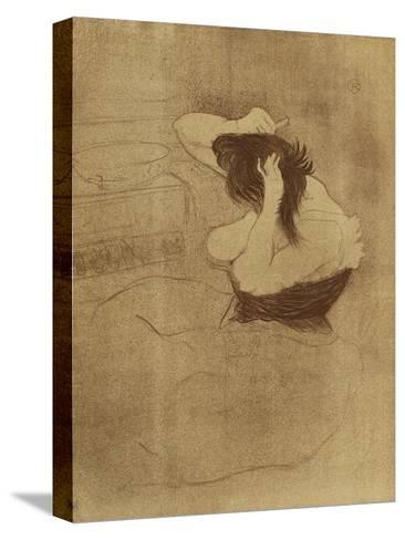 Woman Combing Her Hair - La Coiffure, Plate VII from Elles; Femme Qui Se Peigne - La Coiffure,?-Henri de Toulouse-Lautrec-Stretched Canvas Print