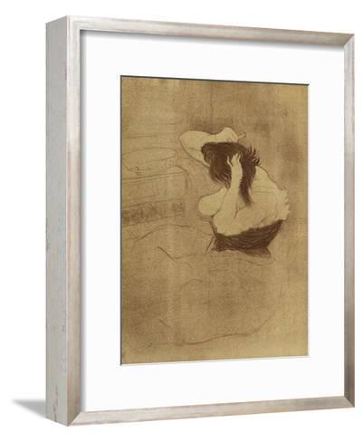 Woman Combing Her Hair - La Coiffure, Plate VII from Elles; Femme Qui Se Peigne - La Coiffure,?-Henri de Toulouse-Lautrec-Framed Art Print