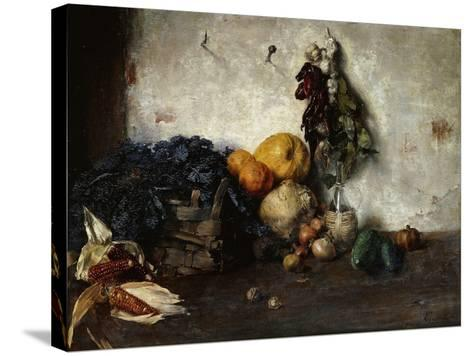 A Still-Life of Vegetables by a Wall, 1890-Albin Egger-lienz-Stretched Canvas Print
