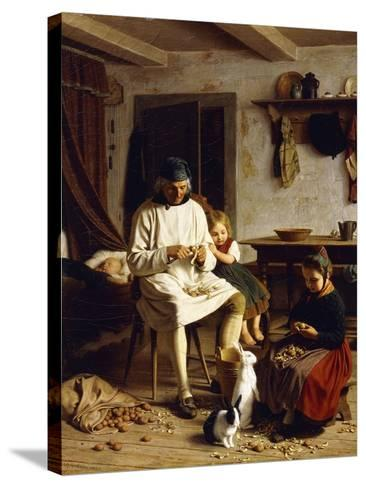 Family Chores, 1859-Friedrich Edouard Meyerheim-Stretched Canvas Print