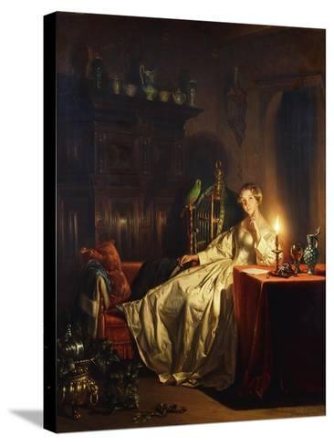 A Candlelit Interior with a Lady Seated at a Table, 1865-Petrus van Schendel-Stretched Canvas Print