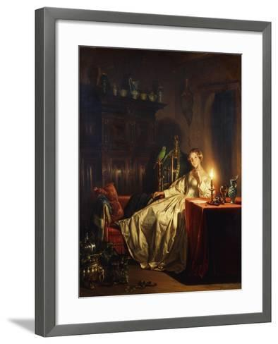 A Candlelit Interior with a Lady Seated at a Table, 1865-Petrus van Schendel-Framed Art Print