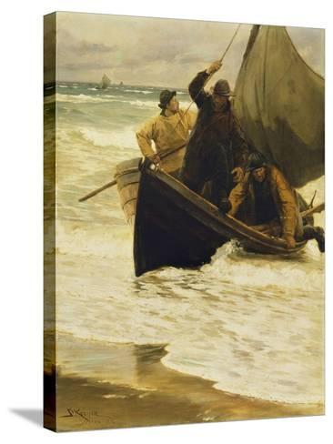Fisherman Returning Home, Skagen, 1885-Peder Severin Kr?yer-Stretched Canvas Print