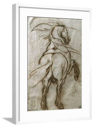 Study of a Rearing Horse, with a Subsidiary Study of the Same and a View of a Town-Jacques Callot-Framed Art Print