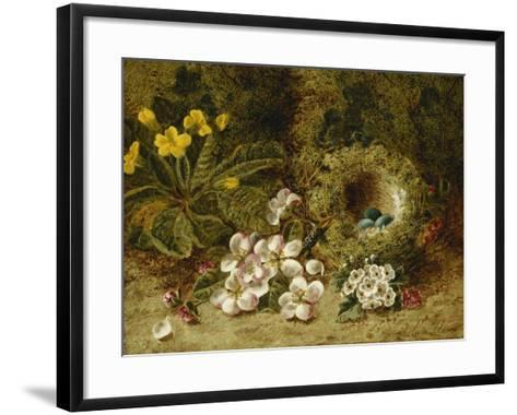 Apple Blossoms, a Primrose and Birds Nest on a Mossy Bank-Oliver Clare-Framed Art Print