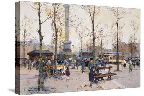 Place De La Bastille, Paris-Eugene Galien-Laloue-Stretched Canvas Print