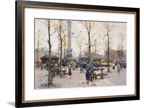 Place De La Bastille, Paris-Eugene Galien-Laloue-Framed Art Print