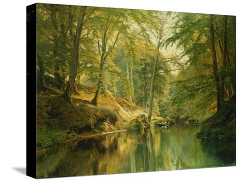 A Wooded River Landscape with Figures in a Boat, 1893-Christian Zacho-Stretched Canvas Print