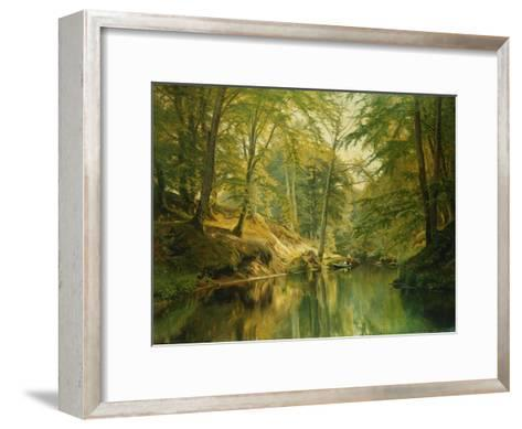 A Wooded River Landscape with Figures in a Boat, 1893-Christian Zacho-Framed Art Print