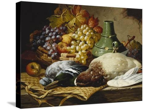 A Mallard and a Woodpigeon with a Basket of Apples and Grapes on a Wooden Ledge-Charles Thomas Bale-Stretched Canvas Print