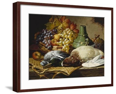 A Mallard and a Woodpigeon with a Basket of Apples and Grapes on a Wooden Ledge-Charles Thomas Bale-Framed Art Print