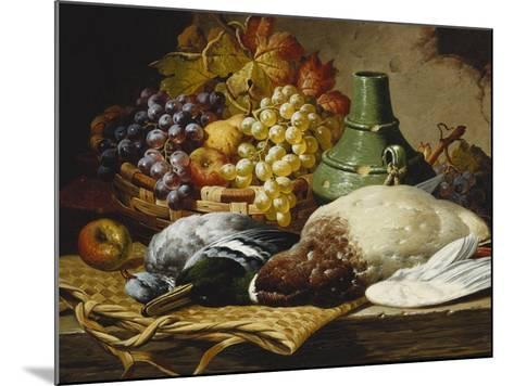 A Mallard and a Woodpigeon with a Basket of Apples and Grapes on a Wooden Ledge-Charles Thomas Bale-Mounted Giclee Print