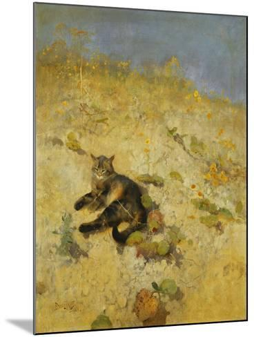 A Cat Basking in the Sun, 1884-Bruno Andreas Liljefors-Mounted Giclee Print