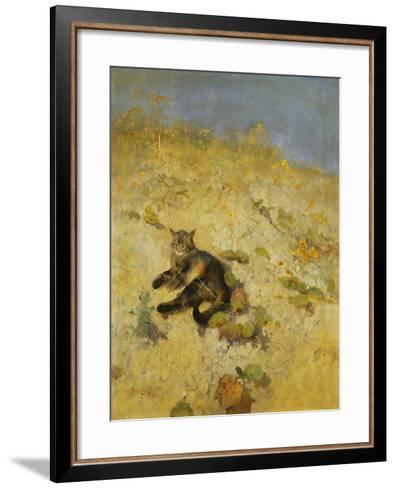 A Cat Basking in the Sun, 1884-Bruno Andreas Liljefors-Framed Art Print