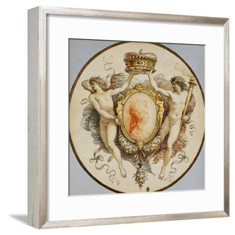 An Oval Portrait of a Woman in Profile with a Decorative Border of Grotesques and Swags, with…-Giuseppe Cades-Framed Art Print