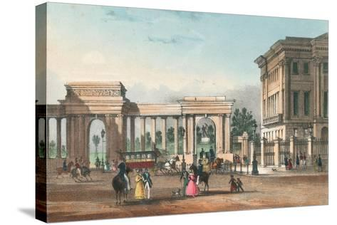 The Entrance to Hyde Park from Piccadilly with the West Wing of Apsley House-English School-Stretched Canvas Print