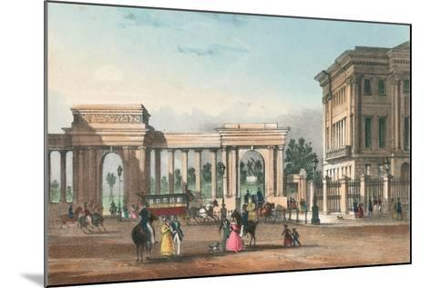The Entrance to Hyde Park from Piccadilly with the West Wing of Apsley House-English School-Mounted Giclee Print