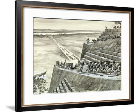 Building the Great Pyramid at Giza-Peter Jackson-Framed Art Print