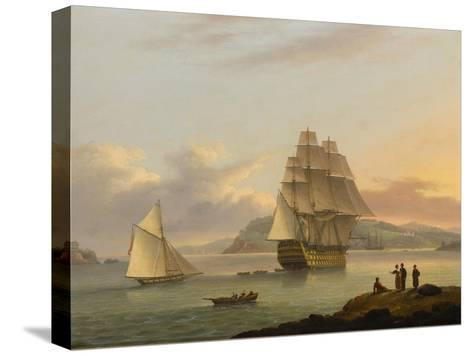A Ship of the Line Off Plymouth, 1817-Thomas Luny-Stretched Canvas Print