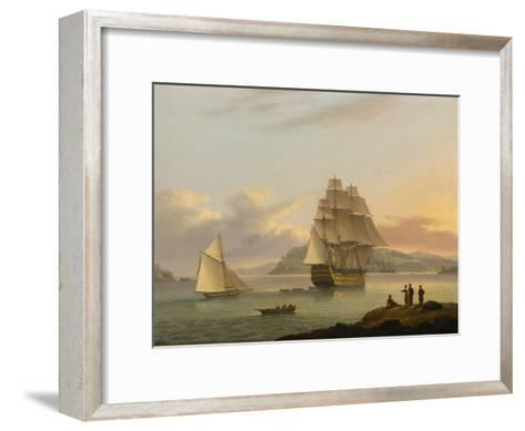 A Ship of the Line Off Plymouth, 1817-Thomas Luny-Framed Art Print