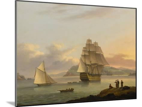 A Ship of the Line Off Plymouth, 1817-Thomas Luny-Mounted Giclee Print