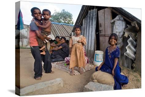 Family of Slum Residents Outside their Home in Rajagopal Nagar, Bangalore, Karnataka, India--Stretched Canvas Print