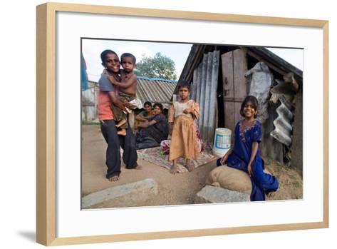 Family of Slum Residents Outside their Home in Rajagopal Nagar, Bangalore, Karnataka, India--Framed Art Print