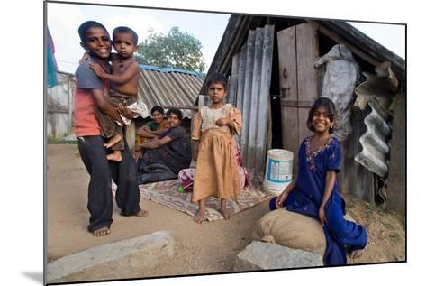 Family of Slum Residents Outside their Home in Rajagopal Nagar, Bangalore, Karnataka, India--Mounted Giclee Print
